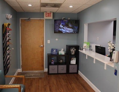 Welcoming dental office reception desk